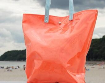 Mana Neon Orange Shopper Bag/ Neon Beach Foil Bag /Light Blue Foil Handbag/ Fashion Orange Bag/ Foil Tote Bag