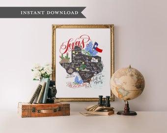 Texas map art, illustrated texas map, texan art, calligraphy print, texas print, texas printable art, printable wisdom, texas art print