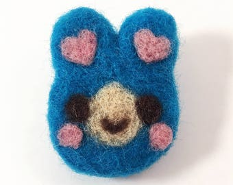 Blue Needle Felted Bunny Brooch