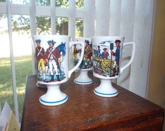 Four Pedestal Mugs Colonial Retro Vintage Housewares