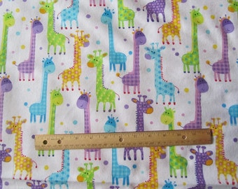 White with Multicolor Giraffee Flannel Fabric by the Yard