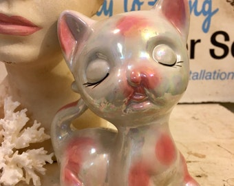 Lusterware Kitty Coin Bank Ceramic Kitch Vintage Pink and White-Free Shipping