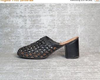 25% OFF Vtg 70s Black Leather Crochet Woven Sandals Mules