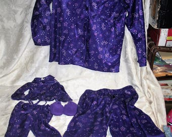 """Rare-n- Collectible Vintage 1997 MY TWINN Matching Set:  """"Satin"""" Purple Universe Pajamas / Tops & Bottoms!  Includes Doll Slippers! Medium!"""