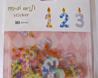"""CLEARANCE Moji Moji Die Cut Stickers """"Birthday Candles"""" for scrapbooking, decorating, Paper crafts. 80 pieces"""