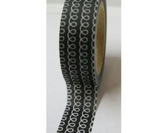 """CLEARANCE Washi Tape """"Curly"""" In Black   10 Meters"""