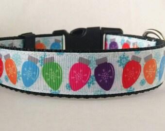 Christmas Dog Collar - Adjustable Dog Collar - Christmas Lights Dog Collar