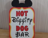 Mickey Mouse Birthday Party Sign, Hot Diggity Dog Bar Party Decoration, Mickey Mouse Clubhouse Party by FeistyFarmersWife