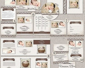 ON SALE Instant Download Premade Photography Marketing set - Vanessa, 7x5  Birth Announcement  Card Template, CD/Dvd Case