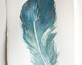 """Teal Blue Feather illustration, Watercolour painting original 7,5""""x 11""""/ Feather Wall Art, Nature painting, Birds, Wings, Minimalist art"""