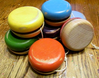 Vintage Style Wooden Yo-Yo Classic Wooden Yoyo Wood Bandalore toy  Party Favour Classic wood toy made in Canada