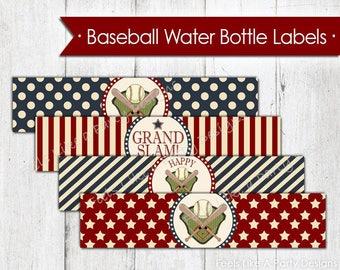 Vintage Baseball Water Bottle Wrappers - Instant Download