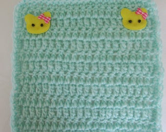 Crocheted Mint Green Pastel Mini Blanket for your Dolls/OOAK