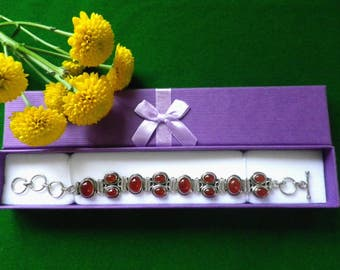 Carnelian tennis bracelet, cabochon stones, bezel set oval stones, T bar clasp, silver plated, gift for her, gift box, adjustable length