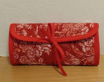 Quilted Crochet Hook Case Red White Flowers Quilted Bag