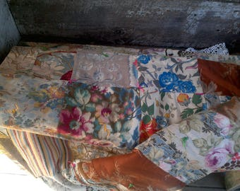 """Vintage Cotton and Barkcloth? Quilt, 66"""" x 88"""", All Handmade, Estate Find Quilt, Bedding, Linens, Calico, Reversible, Hand tied, Very Soft!"""