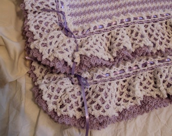 Crochet Lacey Edge Baby Afghan Blanket - Made to Order