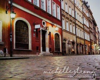 European Photography, Cobblestone Streets, Warsaw Prints, Row Housing, Large Wall Art, Travel Photography, Poland, Romantic Prints, Wall Art