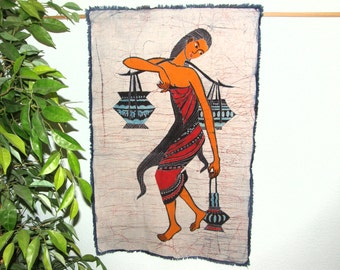 Wall Hanging made from Vintage Chinese Batik - Chinese Maiden with Blue Pots - Batik Made in Guizhou Province