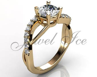 Engagement Ring - 14k Yellow Gold Diamond Engagement Ring Anniversary Ring Promise Ring Wedding Ring ER-1135-2