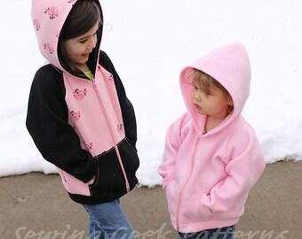 Children's Comfy Hoodie / Zip Up Jacket PDF Pattern. Unisex Sewing Pattern. Toddler Pattern. Baby Pattern. Sizes 3 months - 14