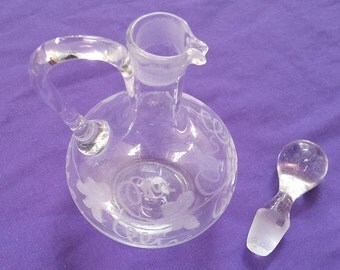 Cruet and Stopper, Hand Blown Clear Crystal with Hand Etching, Vintage Collectible Glassware