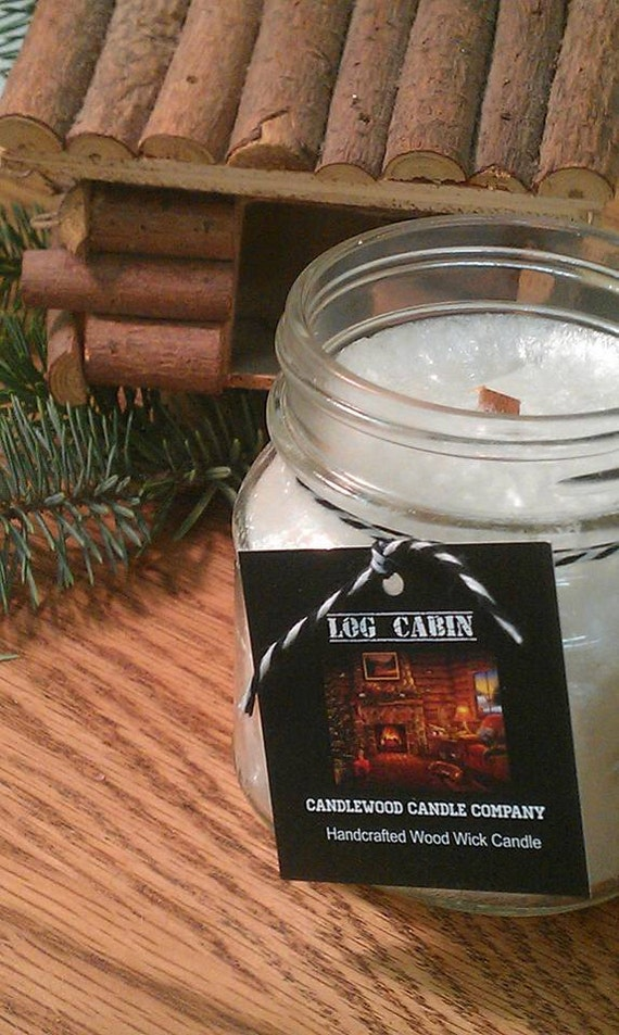 LOG CABIN  - SALE !!All Natural Wax Wood Wick Candle in Apothecary Mason Jar with Black Lid 9 oz
