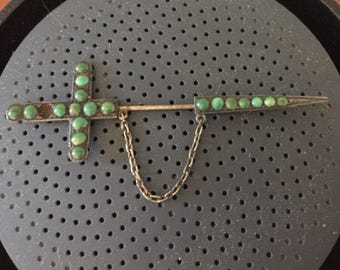 Vintage Sterling Silver Turquoise Cross Sword Stick Pin