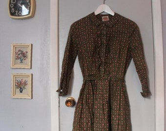 1960s shirtwaist olive calico print dress