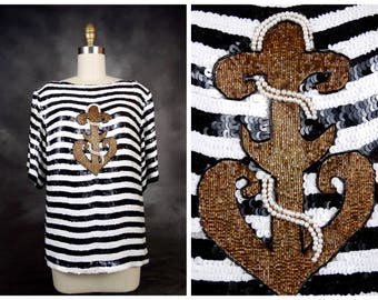 Anchor Sequin Art Deco Top / Fully Embellished Striped Silk Blouse / Black White Gold Sequined Beaded Top