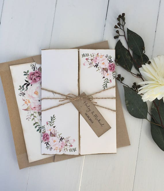 Boho floral wedding invitation rustic wedding invitation for Floral wedding invitations canada