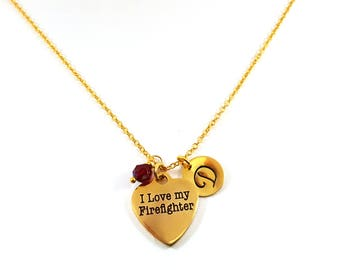 I Love My Firefighter- Gold- Swarovski Birthstone - Personalized Initial Necklace - Gold Jewelry - Gift for Her