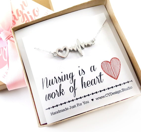 Nursing is a Work of Heart Necklace - Heart Rhythm Charm - Nurse Necklace - Nurse Gift - Heartbeat necklace - Sterling Silver Jewelry