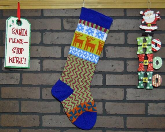 Colorful Hand Knit Christmas Stocking Fair Isle Design Blue