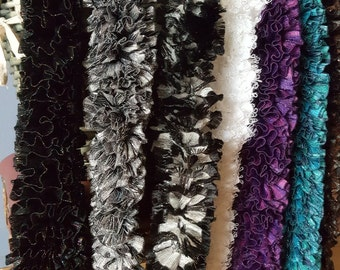 Hand Knitted Ruffle Scarves