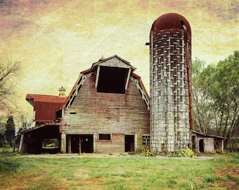 Barn Photography, Rustic Home Decor, Farmhouse Decor, Farm Art, Barn Landscape, Faded Red Barn, Canvas Wrap or Print