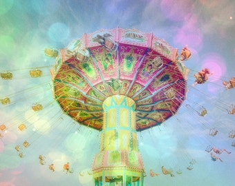 Carnival Photography, Summer Fair, Pastel Colors, Nursery Art, Whimsical, Carnival Swing, Fine Art Photography, Large Wall Art