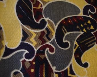 Picasso-like Paisley Silk Yardage