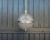 Vintage French cut lead crystal glass, globe ceiling light, lampshade, pendant light, with chrome finish