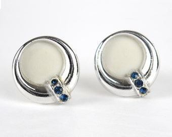 Vintage Cuff Links  Silver Tone with Dark Blue Stones