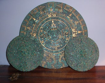 Collection of 3 Vintage Aztec Calendars Wall Plaque Mayan Round Green Gods