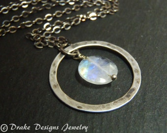 rustic moonstone necklace sterling silver rainbow moonstone jewelry pendant gift for women