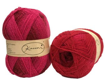 Red Pink Magenta Kauni EME 2 ply wool sport weight yarn. Knit Crochet and Felt. Imported from Denmark. Ships from USA