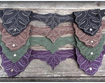 Leaves Utility Belt Ren Faire Festival Garb Pocket Belt Bag ~ Elven Cosplay Vegan Cotton Green, Purple, Black, Brown ~ Renaissance Festival