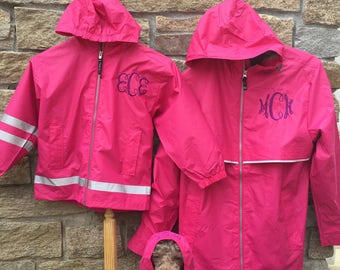 Pink Monogrammed Rain Jacket, Mommy and Me Matching Monogram Rain Coats, Kid's Monogram Rain Coats,