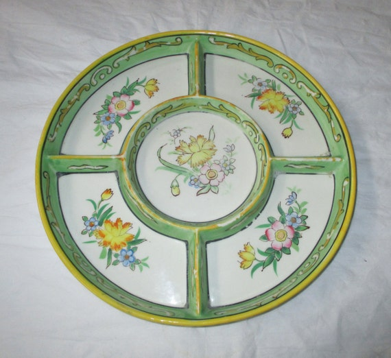 Moriyama Mori-machi Late 1920s Hand Painted Divided Serving Plate, Spring Flowers