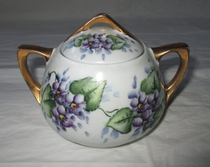 Antique O & EG Royal Austria Hand Painted Sugar Bowl, Purple Violets 1889-1918