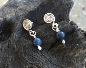 spiral Dangle Earrings, blue Earrings, Denim Lapis Earrings, post earrings, handmade earrings!