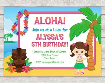 Luau Birthday Invitation, Hula Girl Invite - Printable File or Printed Invites