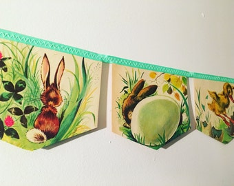 the GOLDEN EGG BOOK little golden book banner garland baby shower bunting first easter nursery decoration storybook bunting bunny rabbit